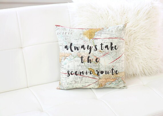 Always take the scenic route world map pillow map decor world etsy image 0 gumiabroncs Choice Image