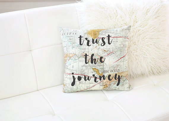 World map pillow trust the journey pillow map decor travel etsy image 0 gumiabroncs Choice Image
