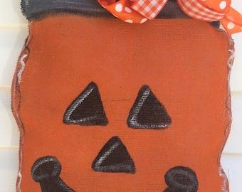 Mason Jar Pumpkin Burlap Door Hanger