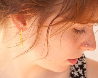 Modern architectural earrings in brass with a sterling silver ear post