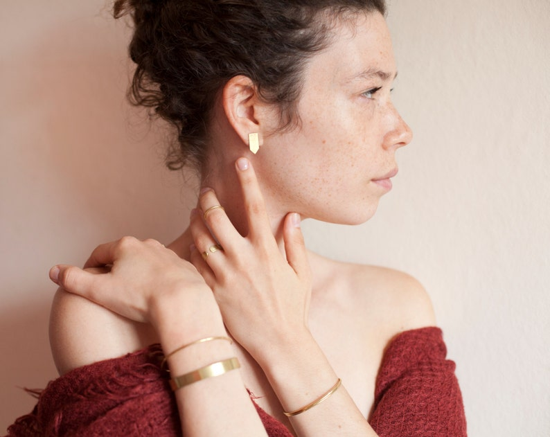 Set of 2 delicate and simple thin brass cuff bracelets \u2022