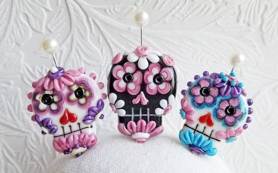 MTO Flower Eye Sugar Skull Focal by Sabrina Koebel Made To Order You Choose Handmade Lampwork Beads
