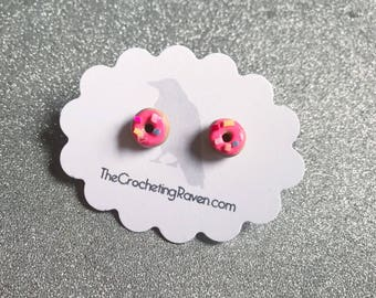 Donut Earrings Doughnut Earrings Donut Stud Earrings Polymer Clay Earrings Kids Earrings Small Stud Earrings