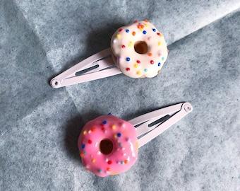 Donut Hair Clips Doughnut Hair Clips Round Sprinkles Polymer Clay Donut Sprinkle Donut