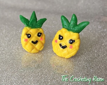 Pineapple Earrings Studs Cute Kawaii Earrings Polymer Clay