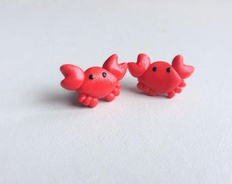 Crab Earrings Crab Stud Earrings Polymer Clay Earrings Ocean Earrings