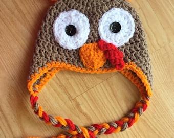 Crochet Turkey Hat Crochet Hat Thanksgiving Hat Baby Turkey Crochet Turkey Hat Earflap Hat
