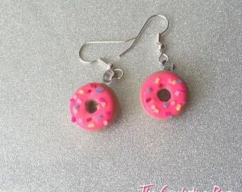 Donut Earrings Drop Dangle Earrings Donut Jewelry Doughnut Earrings Donu Studs Sprinkle Donut