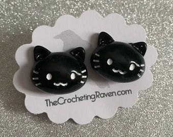 Cat Earrings Cat Stud Earrings Kawaii Cat Black Cat Earrings