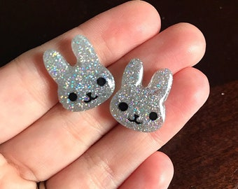 Bunny Rabbit Earrings Holographic Glitter Stud Earrings Resin Earrings