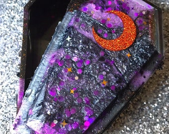 Coffin Trinket Box Resin Box Coffin Jewelry Box Crescent Moon Coffin