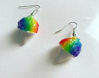 Snow Cone Earrings Rainbow Snow Cones Shaved Ice Earrings Polymer Clay Earrings