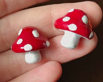 Mushroom Earrings Red Mushrooms polka Dot Mushroom Stud Earrings Resin Earrings Mushroom Jewelry
