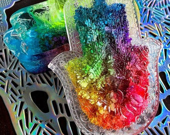 Hamsa trinket box Rainbow