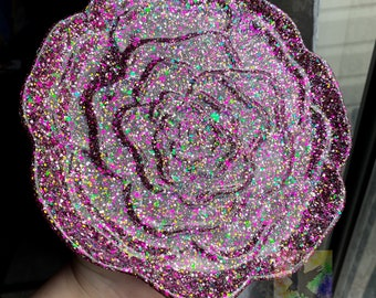 Cabbage Rose Glitter Plate