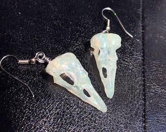 Raven Bird Skull Earrings Skull Jewelry