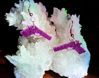 Gun Earrings Gun Jewelry Resin Dangle Earrings Pistol Earrings