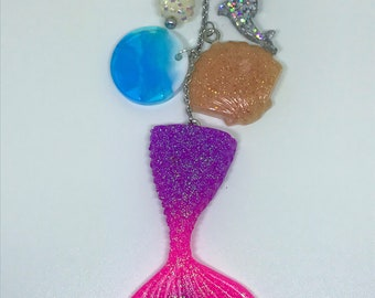 Mermaid Tail Keychain Resin Keychain Beach Keychain Ocean Keychain