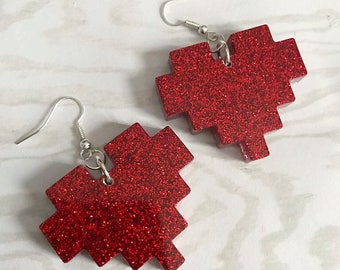 Pixel Heart Earrings Gamer Earrings Gamer Jewelry Nerd Earrings Life Heart Pixel Heart Rate Red Glitter Heart