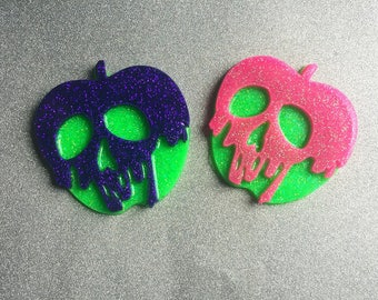 Poison Apple Necklace Poison Apple Jewelry Skull Necklace Skull Jewelry LIME GREEN