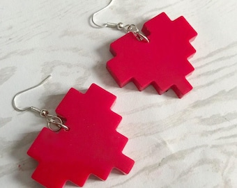 Pixel Heart Earrings Gamer Earrings Gamer Jewelry Nerd Earrings Life Heart Pixel Heart Rate Opaque Red