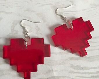 Pixel Heart Earrings Gamer Earrings Gamer Jewelry Nerd Earrings Life Heart Translucent Red