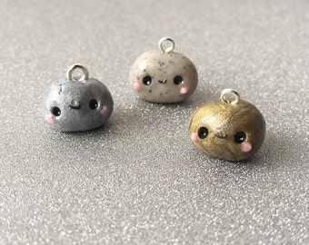 Polymer clay rock charm kawaii pet rock