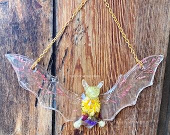 Bat Wallhanging Bat Decor Resin Bat Art Flower Art