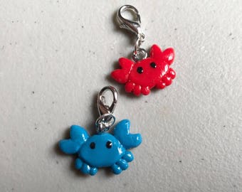 Crab Charm Crab Stitch Marker Polymer Clay Crab Crab Jewelry Blue Crab Polymer Clay Charm