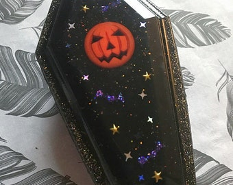 Coffin Trinket Box Pumpkin.