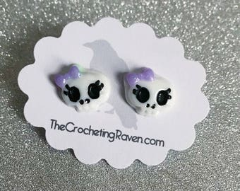 Skull Earrings Tiny Skull Stud Earrings Kawaii Skull Cute Skull