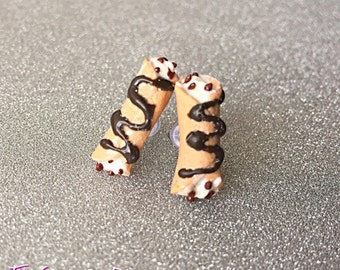 Canolli Stud Earrings ~ Polymer Clay Earrings