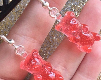 Gummy Bear Earrings Gummy Bear Jewelry Gummy Bears Dangle Earrings Resin Gummy Bear
