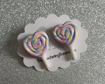 Lollipop Earrings Stud Earrings Heart Rainbow Lollipop Pastel Lollipop Swirly Lollipop (#3)