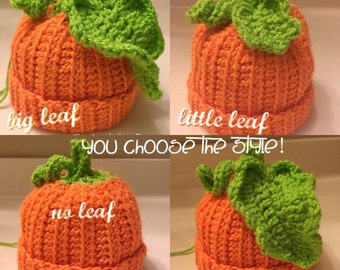 Crocheted pumpkin hat baby/toddler/adult pumpkin costume