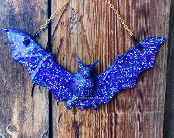 Bat Wallhanging Bat Decor Resin Bat Art Flower Art Glow in the Dark Glitter Bat
