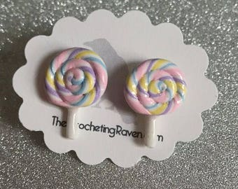 Lollipop Earrings Stud Earrings Rainbow Lollipop Pastel Lollipop Swirly Lollipop (#2)