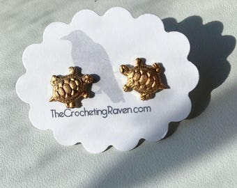Turtle Earrings Turtle Stud Earrings Brass Turtle Earrings Turtle Jewelry