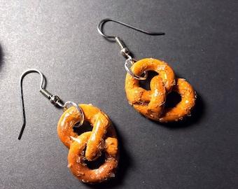 Pretzel Earrings Polymer Clay Pretzel Dangle Earrings Soft Pretzel