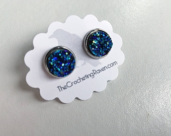 Druzy Stud Earrings Blue Druzy Earrings Stud Earrings Stainless Steel Stud Earrings