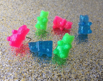Gummy Bear Earrings Glitter Gummy Bear Stud Earrings