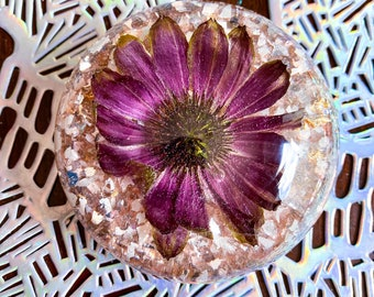 Floral Purple/Pink Cone Flower Paper Weight