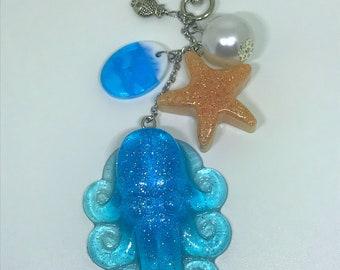 Cuttlefish Keychain Octopus Keychain Beach Keychain Ocean Keychain Resin