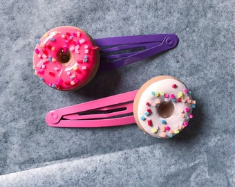 Donut Hair Clips Polymer Clay Choose 1 or 2!