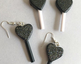 Heart Lollipop Earrings Holographic Glitter Earrings Resin Earrings Candy Earrings Lollipop Jewelry