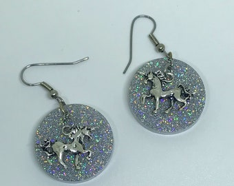 Unicorn Earrings Holographic Earrings Dangle Earrings Unicorn Jewelry