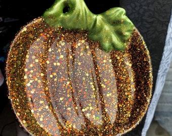 Pumpkin Trinket Dish Trinket Tray Glitter Orange/Green Pumpkin