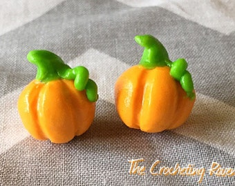 Pumpkin Earrings Stud Polymer Clay Earrings