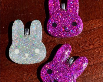 Holographic Bunny Pendant Necklace Pink Holo Rabbit Kawaii Necklace Resin Pendant Necklace Easter Necklace