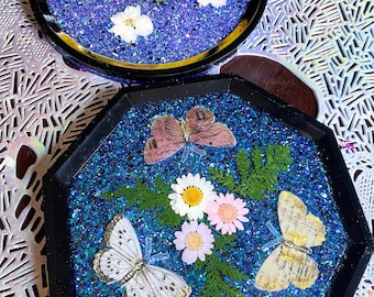 Floral Butterfly Tray Glitter